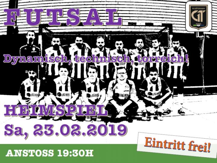 Spielplakat: FCG-Futsaler gegen UFC Paderborn