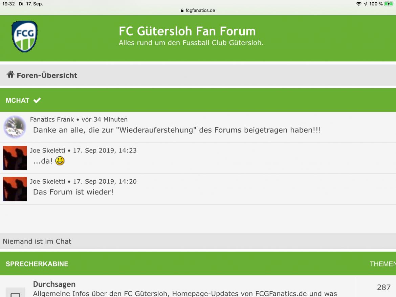 FCG Fan Forum wieder online   FC Gütersloh
