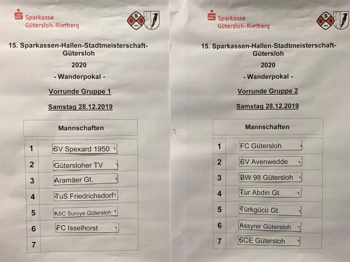 Vorrunde der Sparkassen-Hallen-Stadtmeisterschaft ausgelost