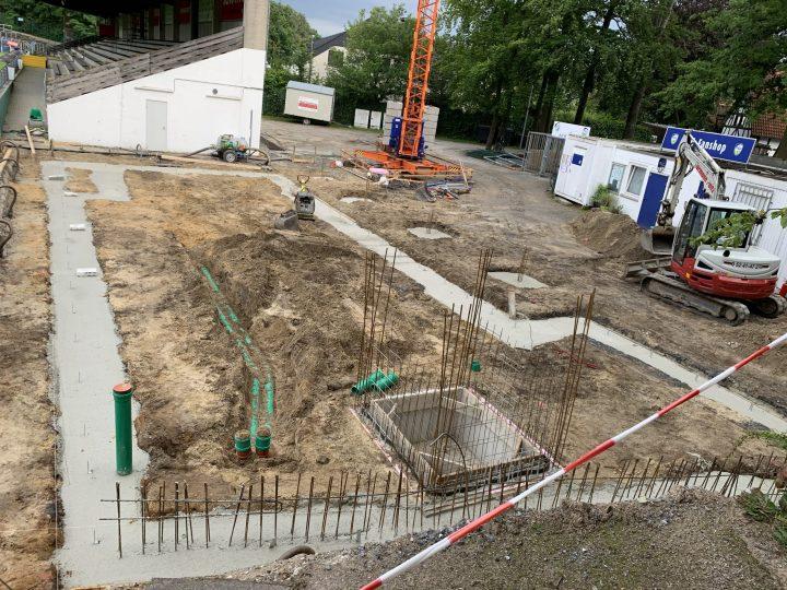 FCG-Vereinsheim im Heidewald: Arbeiten am Fundament haben begonnen