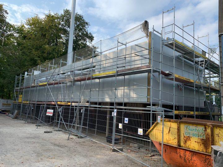 Außenfassade im ersten Stock: FCG-Neubau kommt weiter voran
